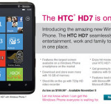 HTC HD7 on T-mobile on Nov. 8th – $199