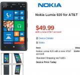 Walmart now offering the Nokia Lumia 920 on AT&T for $49 bucks..820 for Free