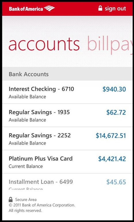 bank of america personal account contact