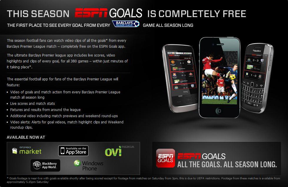 ESPN Goals Kicking It's Way to Windows Phone Soon (Free Season