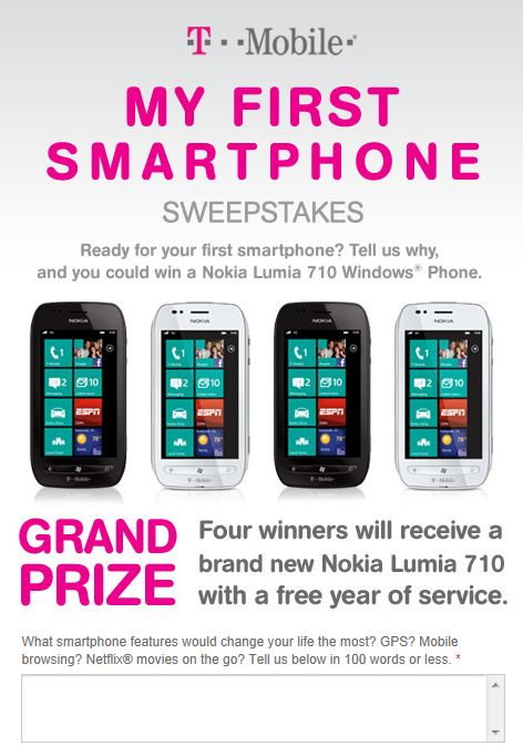 T-Mobile: Win a Nokia Lumia 710 With a Free Year of Service