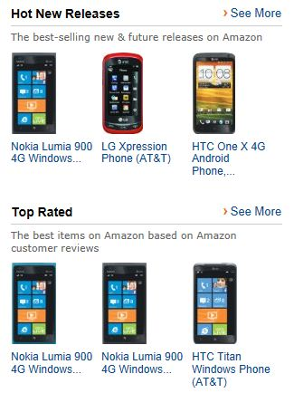 all nokia lumia phones. windows phone is still in a commanding lead over all phones the customer ratings nokia lumia