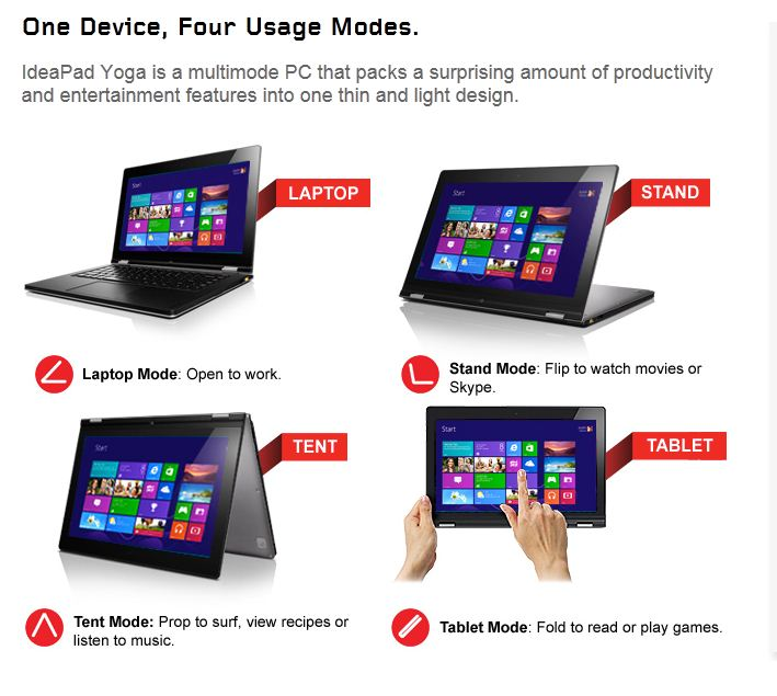 Lenovo's yoga 13 windows 8 tablet laptop gets product page and new