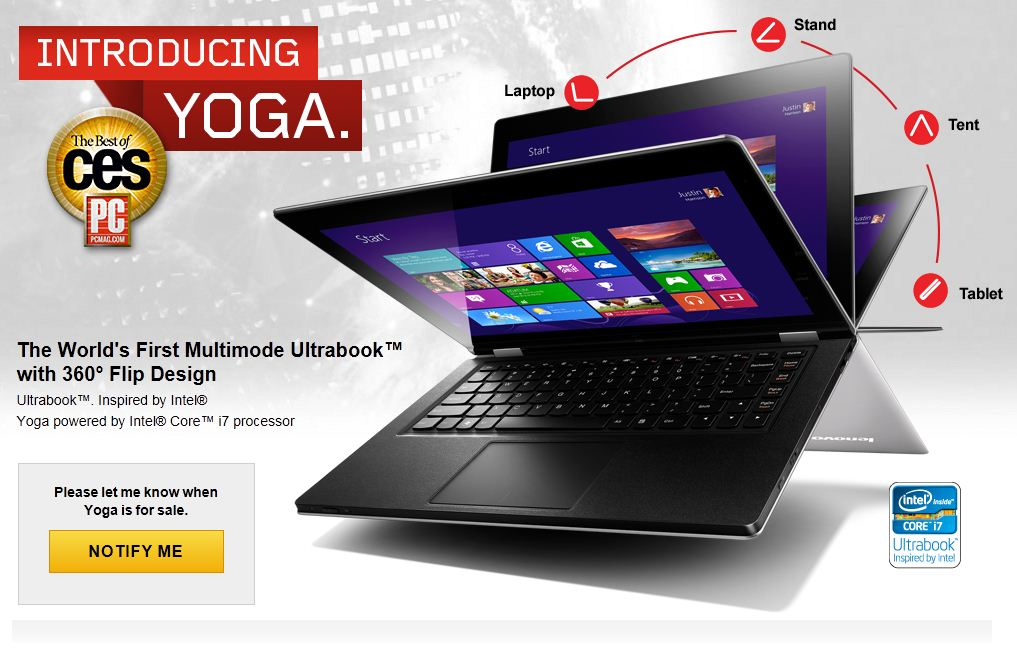 Lenovos Yoga Windows Tablet Laptop Gets Product Page And New Ad