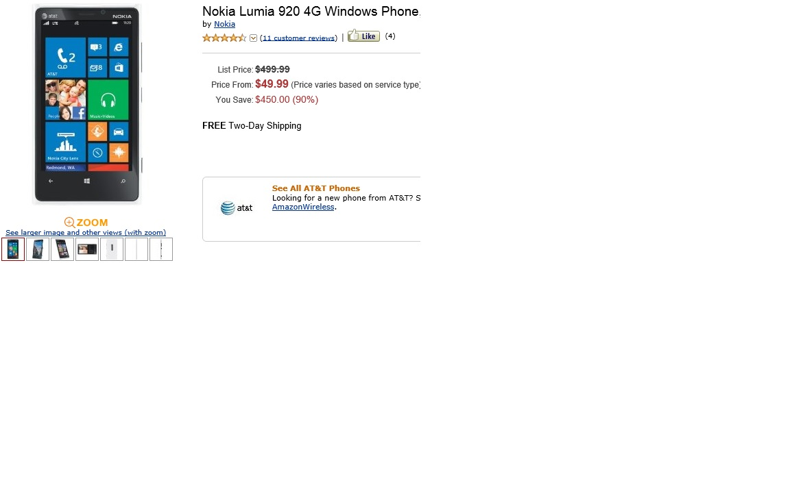 Nokia Lumia 920 Now On Amazoncom For 4999 Contract Wp7 Connect Touchscreen Currently