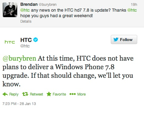 HTC: No Plans for Windows Phone 7.8 Update for HD7